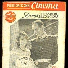Cine: PUBLICACIONES CINEMA. Nº 40. LA VUELTA AL HOGAR. ZARAH LEANDER, RUT HELLBERG, HEINRICH GEORGE. Lote 3488828