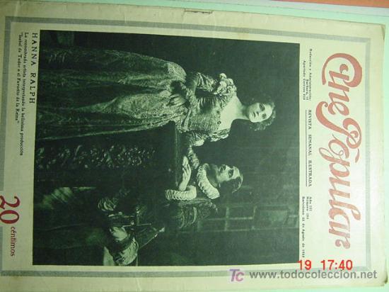 3874 CINE POPULAR REVISTA DE CINE MUDO AÑO 1923 - COSAS&CURIOSAS (Cine - Revistas - Popular film)