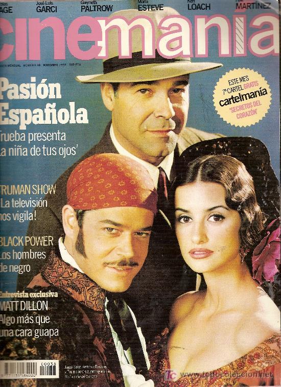 REVISTA 'CINEMANÍA', Nº 38. NOVIEMBRE 1998. ANTONIO RESINES, JORGE SANZ Y PENÉLOPE CRUZ EN PORTADA. (Cine - Revistas - Cinemanía)