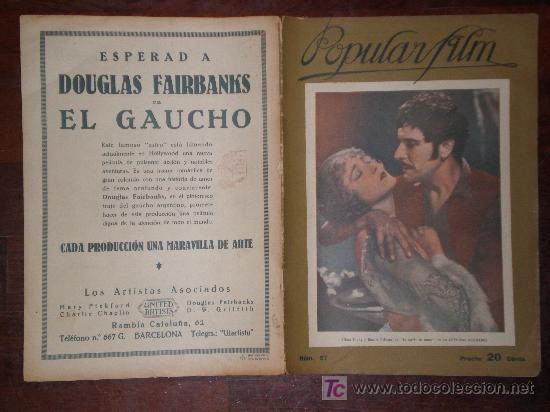 POPULAR FILM, Nº 57, 1/9/27. RECASENS, CADIZ, SIMON, MENDAÑA, CORSARIO, SULPICIO, GAUCHO, LITHINES. (Cine - Revistas - Popular film)