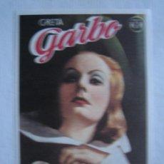 Cinema: LA REINA CRISTINA DE SUECIA - GRETA GARBO - GRAFICAS MARFIL - FOLLETO REPRODUCCION. Lote 5203999