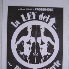 Cine: LA LEY DEL MAS FUERTE - FASSBINDER - FOLLETO REPRODUCCION. Lote 5271667