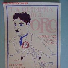 Cine: CARTEL PEQUEÑO PELICULA LA QUIMERA DEL ORO - CHAPLIN. Lote 10998342