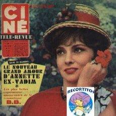 Cine: CINE TELE REVUE 1961 GINA LOLLOBRIGIDA BRIGITTE BARDOT DALIDA VPA. Lote 14693053