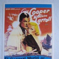Cinema: EL GENERAL MURIO AL AMANECER - GARY COOPER - FOLLETO REPRODUCCION. Lote 11051727
