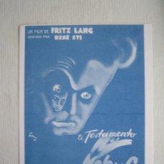 Cine: EL TESTAMENTO DEL DR MABUSE - FOLLETO REPRODUCCION FRITZ LANG RENE STI. Lote 11623468