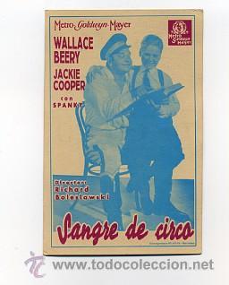 SANGRE DE CIRCO, CON WALLACE BEERY. (Cine - Reproducciones de carteles, folletos...)