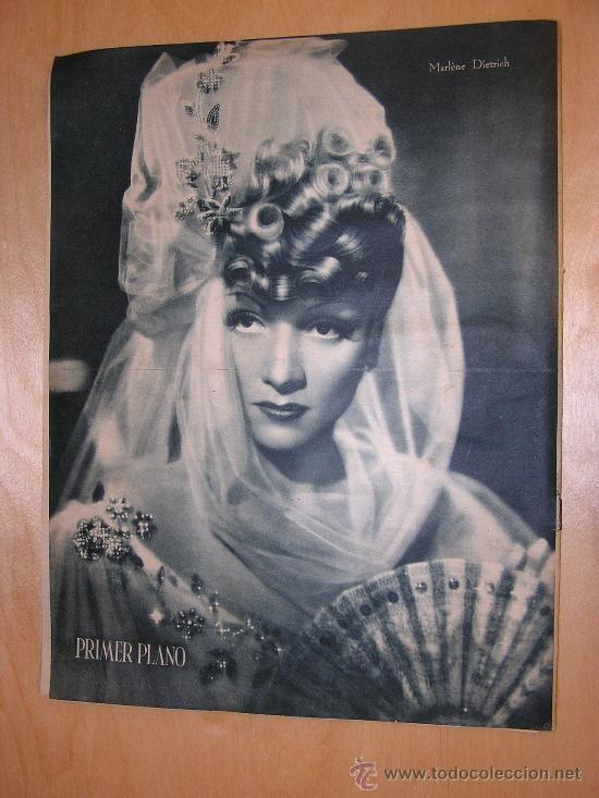 Cine: REVISTA PRIMER PLANO. IMPERIO ARGENTINA. CONTRAPORTADA MARLENE DIETRICH LOLA FLORES 1943 - Foto 2 - 198776402