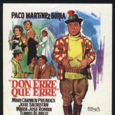 Cinema: P-2484- DON ERRE QUE ERRE (FICHA CON FORMATO DE FOLLETO DE MANO) (PACO MARTINEZ SORIA). Lote 23233751