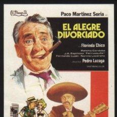 Cinéma: P-2092- EL ALEGRE DIVORCIADO (FICHA CON FORMATO DE FOLLETO DE MANO) PACO MARTINEZ SORIA. Lote 23266119