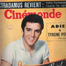Cine: CINE MONDE - ELVIS PRESLEY Nº1286 NOV 1958***TYRONE POWER / EDDYE FISHER & LIZ TAYLOR / MAXIME. Lote 18982348