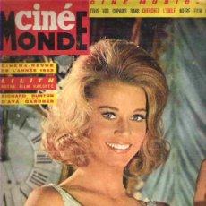 Cine: CINE MONDE - HEURESE ANNEE - CINEMA REVUE 63 / LILITH / RICHARD BURON & EVA GARNER / DIC 1963 Nº1534. Lote 151636265