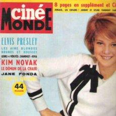 Cine: CINE MONDE - Nº 1504 MARDI 1963 - SYLVIE VARTAN / KIM NOVAK / ELVIS PRESLEY / JANE FONDA. Lote 14633320