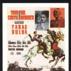 Cine: P-2476- TARAS BULBA (FICHA CON FORMATO DE FOLLETO DE MANO) TONY CURTIS - YUL BRYNNER. Lote 23669471