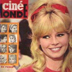 Cine: CINE MONDE -Nº 1545 *** 1964** BRIGITTE BARDOT / ALAIN DELON / GEORGE PEPPARD / GEORGE CHACKIRIS /. Lote 19653062
