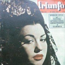 Cine: REVISTA TRIUNFO Nº 374 AÑO 19453 - ANA ESMERALDA-FESTIVAL INTERNACIONAL DE CANNES--BERLANGA-. Lote 22256251