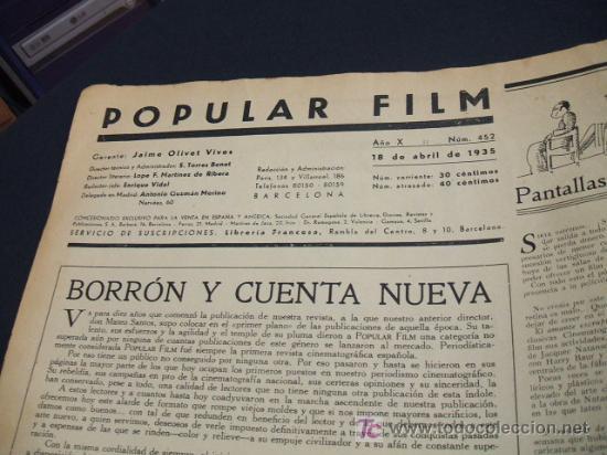 Cine: REVISTA DE CINE - POPULAR FILM - Nº 452 - 18 ABRIL 1.935 - Foto 2 - 16901407