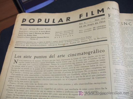 Cine: REVISTA DE CINE - POPULAR FILM - Nº 458 - 30 MAYO 1.935 - Foto 2 - 16901421