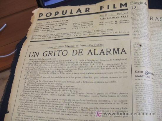 Cine: REVISTA DE CINE - POPULAR FILM - Nº 459 - 6 JUNIO 1.935 - Foto 2 - 16901430