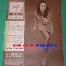 Cine: CINE EN 7 DIAS #314/1967 MARTINE BESWICK~ANITA EKBERG~HAYLEY MILLS~LOLITA TORRES~FESTIVAL VALLADOLID. Lote 27165512