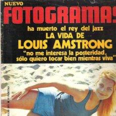 Cine: FOTOGRAMAS Nº 1187 ** JUL 1971 LOUIS AMSTRONG / JULIE CHRISTIE / POSTER GISELA HAWN. Lote 19362500