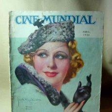 Cine: REVISTA CINE MUNDIAL, ABRIL 1936, GRACE MOORE, ESTRENOS, PUBLICIDADES DE LA EPOCA, PACKARD 120. Lote 19560141