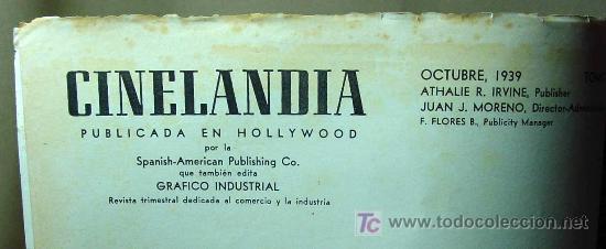 Cine: REVISTA CINELANDIA, OCTUBRE 1939, JUDY GARLAND, ESTRENOS, PUBLICIDADES DE LA EPOCA - Foto 2 - 19560550