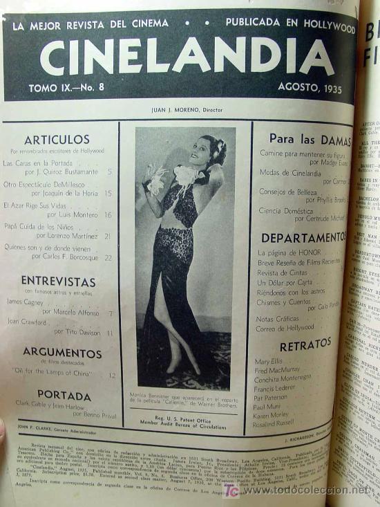 Cine: REVISTA CINELANDIA, AGOSTO 1935, CLARK GABLE, ESTRENOS, PUBLICIDADES DE LA EPOCA, KELLOGGS - Foto 4 - 19560495