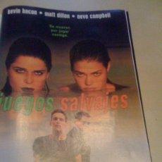 Cine: 'JUEGOS SALVAJES', CON KEVIN BACON. PÁGINA DE PRENSA.. Lote 19794410