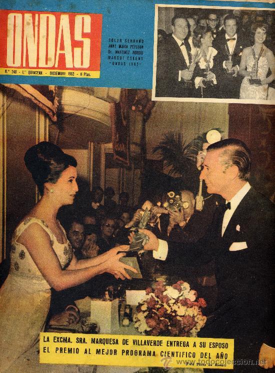 ONDAS Nº240 (1962) (RADIO) BRANDO Y TARITA, ALBERTO DE MONACO, GALA ONDAS 1962, PECKER, (Cine - Revistas - Ondas)