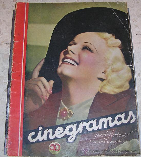 CINEGRAMAS. JEAN HARLOW. REVISTA SOBRE CINE ESPAÑOL Y EXTRANJERO (Cine - Revistas - Cinegramas)