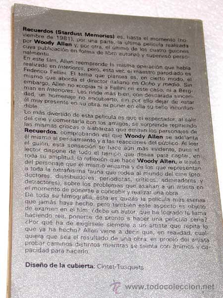 Cine: GUIÓN DE STARDUST MEMORIES (RECUERDOS) WOODY ALLEN. TUSQUETS 1981. CUADERNOS INFIMOS 101. - Foto 2 - 26817890