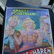 Cinema: CARTEL DE LA PELÍCULA, AVENTURE AU HAREM (AVENTURA EN EL HAREM) BUD ABBOTT Y LOU COSTELLO. 46 X 36.. Lote 27341715