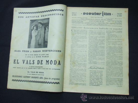 Cine: POPULAR FILM - Nº 222 - 30 OCTUBRE 1930 - PORTADA, NANCY BELFORD - Foto 2 - 23173941