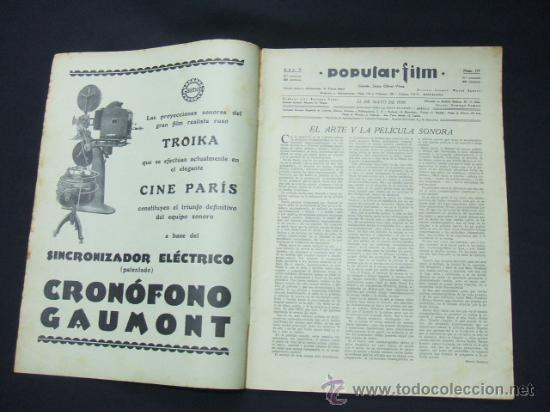 Cine: POPULAR FILM - Nº 199 - 22 MAYO 1930 - PORTADA, CONRAD NAGEL - Foto 2 - 23174471