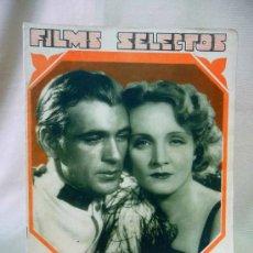 Cine: REVISTA DE CINE, FILMS SELECTOS, SEMANARIO CINEMATOGRAFICO, AÑO II, Nº 54, 1931, MARLENE DIETRICH. Lote 24608910