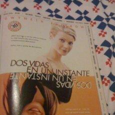Cine: 'DOS VIDAS EN UN INSTANTE', CON GWYNETH PALTROW. PÁGINA DE PRENSA.. Lote 25092918