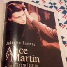 Cine: 'ALICE Y MARTIN', CON JULIETTE BINOCHE. PÁGINA DE PRENSA.. Lote 25113317