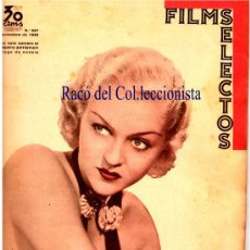 Cine: REVISTA CINE: FILMS SELECTOS 30-11-DE 1935 Nº 263 PORTADA PATRICIA ELLIS, CONTRAP. BETTE DAVIS. Lote 25404523