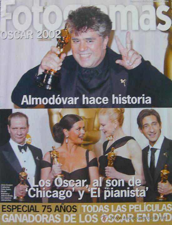 CINE FOTOGRAMAS, SUPLEMENTO OSCAR 2002, ALMODOVAR HACE HISTORIA-LOS OSCAR SON PARA CHICAGO (Cine - Revistas - Fotogramas)