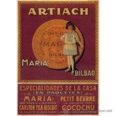Cine: CUADRO CARTEL CLASICO DE ULTRAMARINOS EN MADERA DE 28X40 CM : ARTIACH, GALLETAS MARÍA. Lote 30939461