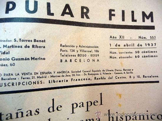 Cine: REVISTA SEMANAL CINEMATOGRAFICA, POPULAR FILM, 1937, Nº 553, SHERLEY TEMPLE, JEAN HARLOW - Foto 2 - 27859188