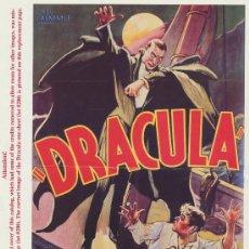 Cine: DRACULA. REPRODUCIÓN DEL CARTEL EN INGLÉS DE 1931.. Lote 28006162