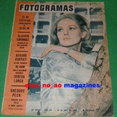 Cine: FOTOGRAMAS 874/1965 BEBA LONCAR~CLAUDIA CARDINALE~GREGORY PECK~FESTIVAL DE BERLIN~TERESA LORCA. Lote 28670801