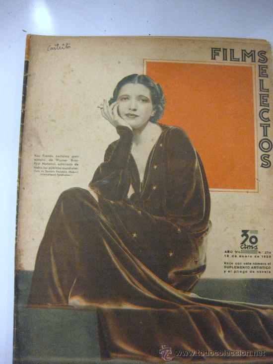 FILMS SELECTOS.Nº 274 . 18 DE ENERO 1936. PORTADA DE KAY FRANCIS (Cine - Revistas - Films selectos)