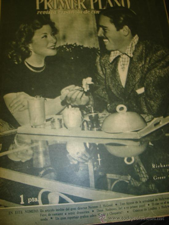 Cine: REVISTA PRIMER PLANO Nº 295 RICHARD NEY, GREER GARSON, DICK POWEL, ALICE FAYE, DANA ANDREWS - Foto 1 - 29288369