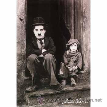 CUADRO EN MADERA DE 40X28 CM: CHAPLIN, THE KID: FOTOGRAMA DE EL CHICO (Cine - Revistas - Colección grandes películas)