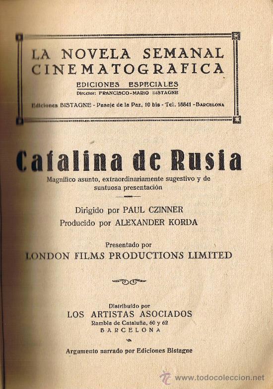 Cine: CATALINA DE RUSIA - EDICIONES BISTAGNE - LA NOVELA SEMANAL CINEMATOGRÁFICA - Foto 2 - 29914737