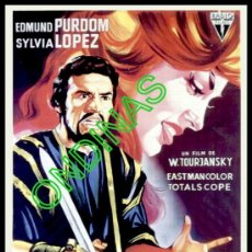 Cine: P-1996- EL REY CRUEL (SOLIGÓ) (COPIA CARTEL EN FORMATO DE FOLLETO DE MANO) (EDMUND PURDOM). Lote 23497593