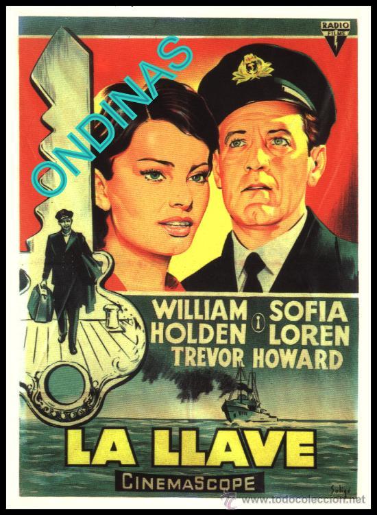 P-1028- LA LLAVE (THE KEY) (SOLIGÓ) (COPIA CARTEL EN FORMATO DE FOLLETO DE MANO) WILLIAM HOLDEM (Cine - Reproducciones de carteles, folletos...)